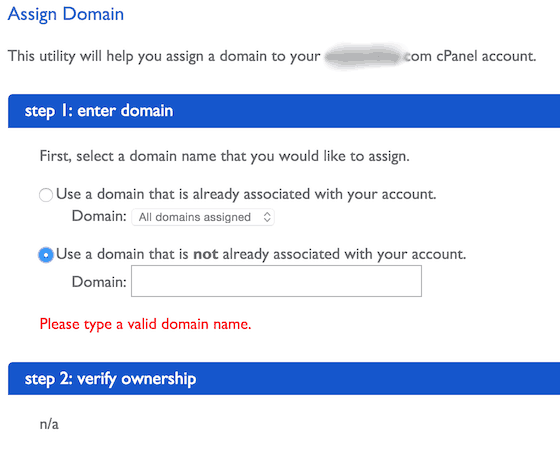 Verify Assigned domain