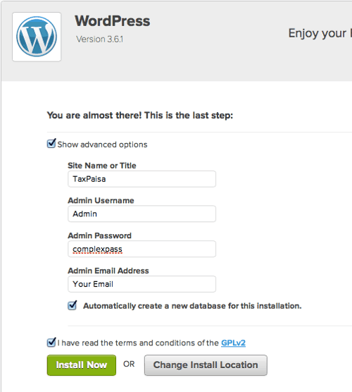 advance WordPress installation options