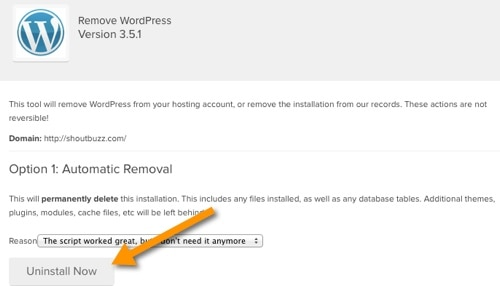 Automatical removal WordPress