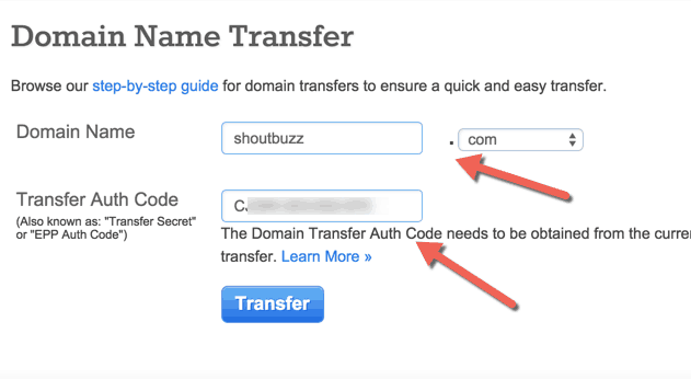 transfer domain bluehost