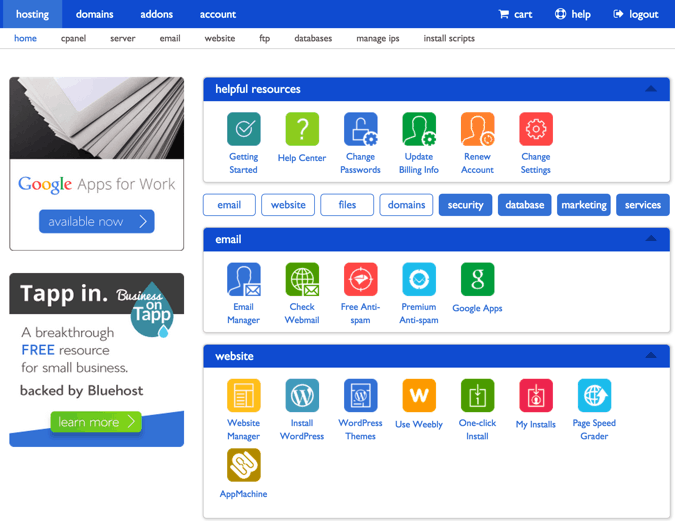 Bluehost comm dashboard